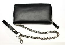 Leather Zipper Wallet With Detachable Chain - Black- New