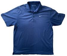 NIKE Golf Polo Shirt Size Large Navy BLUE   Dri-fit Smart Short Sleeve Plain