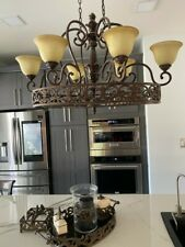 Chandelier  Traditional Bronze finish with six lights and champagne glass