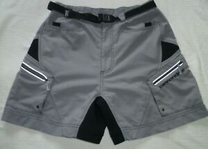 Cannondale Men's Rip Stop Belted Mountain biking Padded Cargo Small Shorts Gray