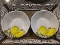 Set of 2 EFFETTI D'ARTE Italy LEMON Salad Soup Pasta Bowls Serving Plates NWT