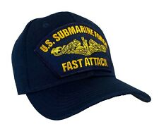 GOLD DOLPHINS - U.S. Navy Submarine Hat Blue Ball Cap - 'FAST ATTACK' Officer