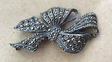 Gorgeous!!! Vintage 925 Sterling Silver Sparkly Marcasite Encrusted Bow Brooch
