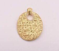 Italian Filigree Wavy Oval CZ Pendant Necklace 14K Yellow Gold Clad Silver 925