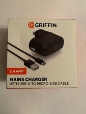 Griffin 2.4 Amp Mains Fast Charger USB-A To Micro USB For Android Phones,Tablets
