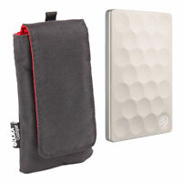 Water Resistant Nylon Pouch/Case in Black for Seagate Backup Plus Ultra Slim HDD