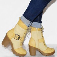 High Heel (3-4.5 in.) Combat Boots Lace Up Shoes for Women