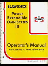 Blaw-Knox Power Extendible Omni Screed III Hydraulic Paver Owner's Manual
