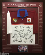 Blazed In Glory - 1996 Manly Sea Eagles Premiers - NRL Signed & Framed Jersey
