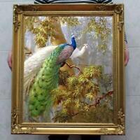 "Hand painted Original art animal Oil painting Portrait peacock on Canvas 30""X40"""