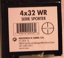 Gamo Serie Sporter VE 4x32 WR scope. With mounts, allen key, lens cap BSA 177 22