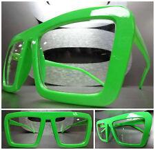 Men or Women VINTAGE RETRO FASHION Clear Lens PARTY EYE GLASSES Neon Green Frame