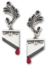 Alchemy Gothic Marie Antoinette Guillotine Blood Red Crystal Earrings