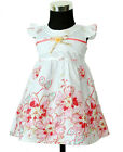 Bebé Niña Vestido De Fiesta Algodón Floral 0-3 M 3-6 6-9 en Blanco y Lila Rosa