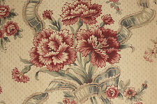 Vintage French printed linen fabric material upholstery weight  ~ floral design
