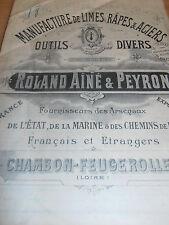 catalogue de limes - râpes - CHAMBON FEUGEROLLES LOIRE 42 année 1917