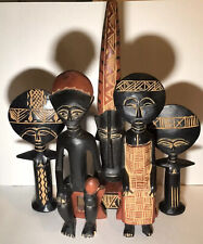 Handcrafted In Ghana - Lot of 5 - Africa Tribal Native Sculpture Faces Art