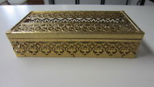 Vintage MCM / Hollywood Regency Metal Filigree Rectangle Tissue Box Cover (MD)