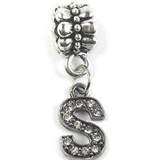 """""""S"""" Letter Dangle Charm Beads with Crystals for Snake Chain Charm Bracelet"""