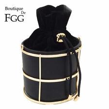 Women Black Bucket Day Clutches Metal Chain Shoulder Handbag Purse Crossbody Bag