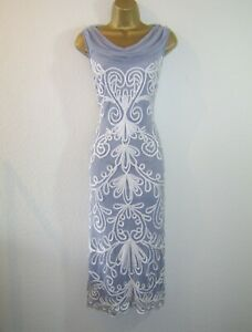 NIGHTINGALES GORGEOUS GREY WHITE EVENING PARTY OCCASION DRESS SIZE 14 16 NEW
