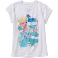Frozen Elsa Girls Shirt Size S (6-6x) White Gift Short Sleeves Summer Disney M