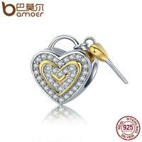 BAMOER S925 Sterling silver Charm True love Heart shackles & AAA CZ For bracelet