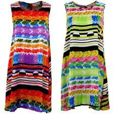 Ladies Sleeveless A-Line Shift Multicolour Stripe Print Women's Tunic Dress