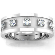 14K Solid White Gold Ring 0.29 Carat Real Diamond Mens Wedding Band Size S T U W