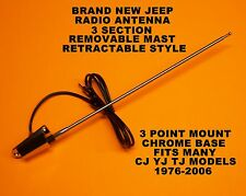 NEW JEEP RADIO ANTENNA KIT WRANGLER RUBICON SAHARA SCRAMBLER CJ YJ TJ 1976-2006