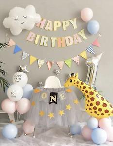 Happy Birthday Decoration Balloons Unicorn Giraffe Girls Boys Kids