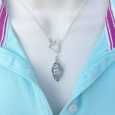 I Love Ice Hockey Silver Mask Lariat Style Y Necklace.