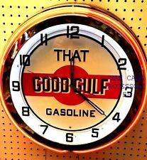 "18"" That GOOD GULF Gasoline Gas Station Sign Double Neon Clock No Nox Gulftane"
