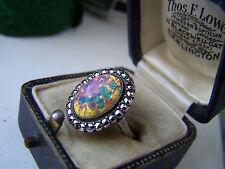 Splendido Vintage in Sterling Silver Foil Opale & Marcasite Anello Taglia L insolito Raro