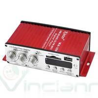 Mini amplificatore stereo per auto 2 CANALI radio FM porta USB SD Kinter MA-120