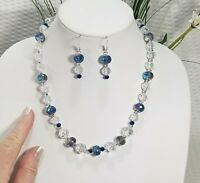 Blue AB-Coated and Clear Glass Faceted Crystal Bead Necklace and Earring Set