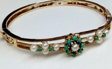 ANTIQUE VICTORIAN TURQUOISE PEARL ACCENTS BANGLE BRACELET SOLID 14K YG