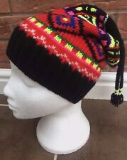 POLO RALPH LAUREN LUXURY WOOL BLEND NEON FAIR ISLE TAILED BEANIE HAT BNWT