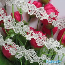 1 Yd Vintage Butterfly Bow Flower Lace Edge Trim Ribbon Wedding Applique Sewing