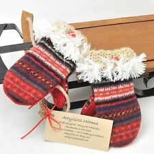 Kids Sweater Mittens Red Wool Fleece Lined Handmade Up Cycled USA NEW