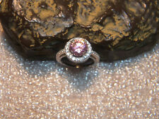 4.85 Ct. Natural Round Cut Pink Zircon .925 Sterling Silver Halo Ring Size US7