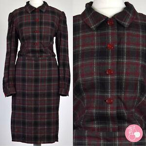 GREY & RED WOOL CHECK 1950s VINTAGE SHIRT DRESS 12