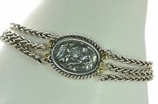 SeidenGang Solid 925 Sterling Silver & 18K Gold Triple Strand Chain Bracelet '
