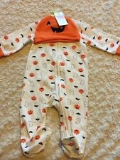 NEW Just One You White Orange Pumpkins Ghosts Bats Pajamas Hat Costume 6 Months