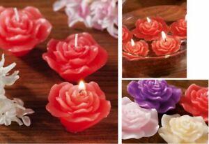 Set 3 Candele galleggianti Profumate forma Rose 4 Colori