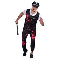 Adult Men's Zombie Police Costume Halloween Bloody Cop Costume Suit Fancy Dress
