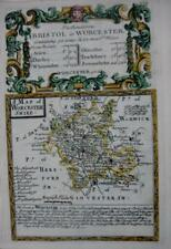 WORCESTERSHIRE  WORCESTER  BY EMANUEL BOWEN GENUINE ANTIQUE MAP c1720