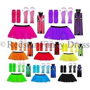 Neon Tutu Rock Set & Hosenträger - Kostüm UV Henne Party Bein Wärmer Handschuhe