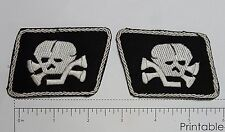 Skull Collar Pair Outlaw Biker Funny Motorcycle Iron On Small Patch