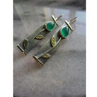 Vintage Boho Tibetan 925 Silver Turquoise Dangle Hook Earrings Women Jewelrys